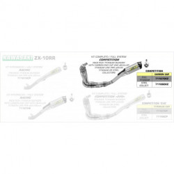 Arrow Competition Komplettanlage 4in1 Race-Tech Volltitan mit Carbonendkappe KAWASAKI ZX 10 R 71167CKZ