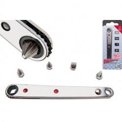 Ratschen-Schlüssel Ultra Dünn, mit 2 Kreuz- und 2 Schlitzbit