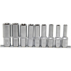 Steckschlüssel-Einsätze, tief, E-Profil E10-E24, 12,5 (1/2), 9-tlg.