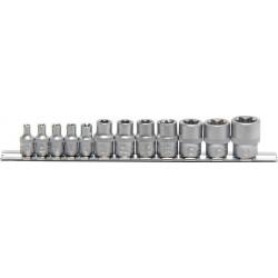 Steckschlüssel-Einsätze E-Profil, 6,3 (1/4) + 10 (3/8), 12-tlg.