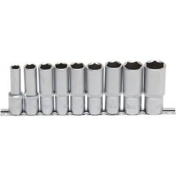 Steckschlüssel-Einsätze, tief, 12,5 (1/2), 10-24 mm, 9-tlg.