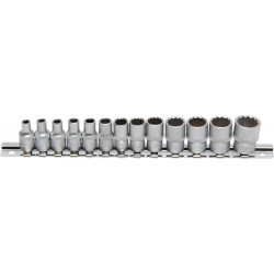 Steckschlüssel-Einsätze 6,3 (1/4), 12-Kant, 4-14 mm, 13-tlg.